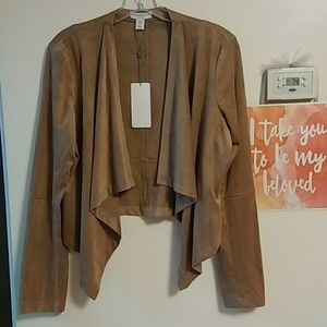 NWT Silky Soft Faux Suede Open Front Blazer